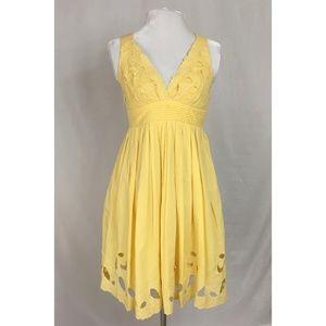 Minuet Yellow floral lace cutout dress
